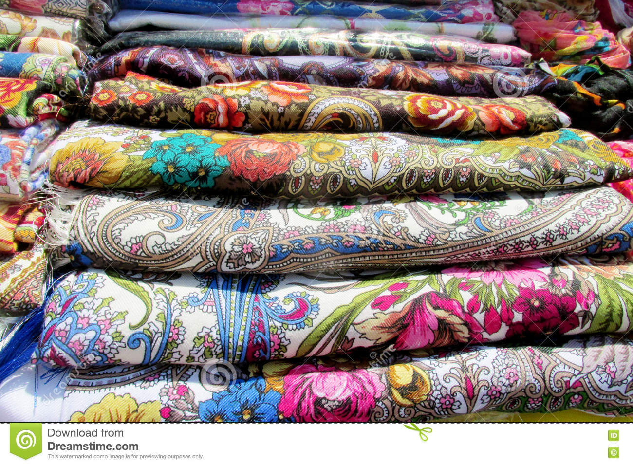 Ukrainian traditional colorful textil head covers with flowers