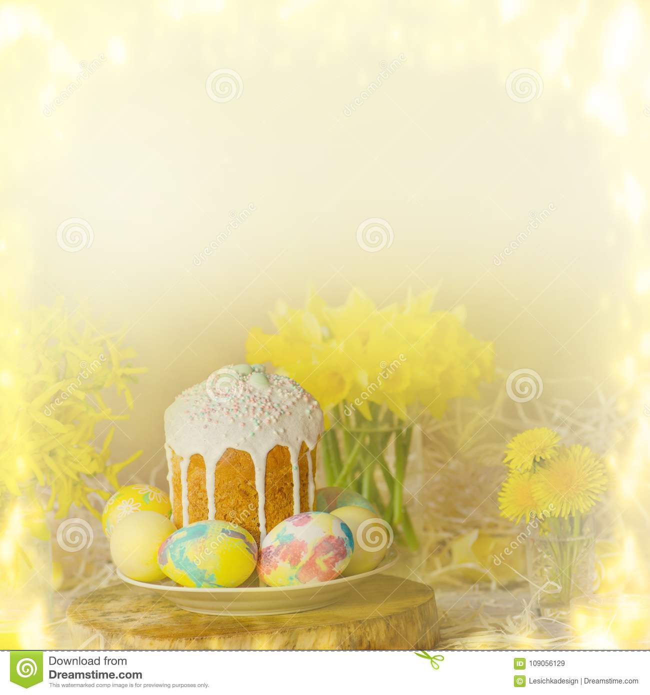 Ukrainian Traditional Easter Bread Paska Or Kulich Square View
