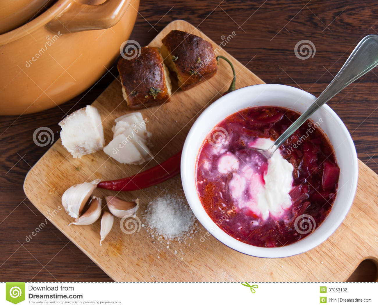 Home made Ukrainian traditional red soup - borsch, with garlic, salo ...