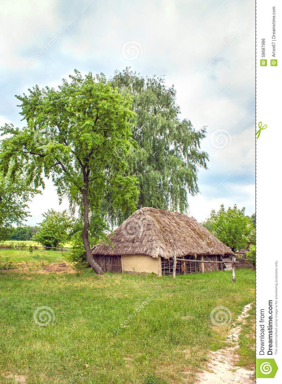 Ukrainian Wooden Barn Thatched Locked Uph Stock Photo