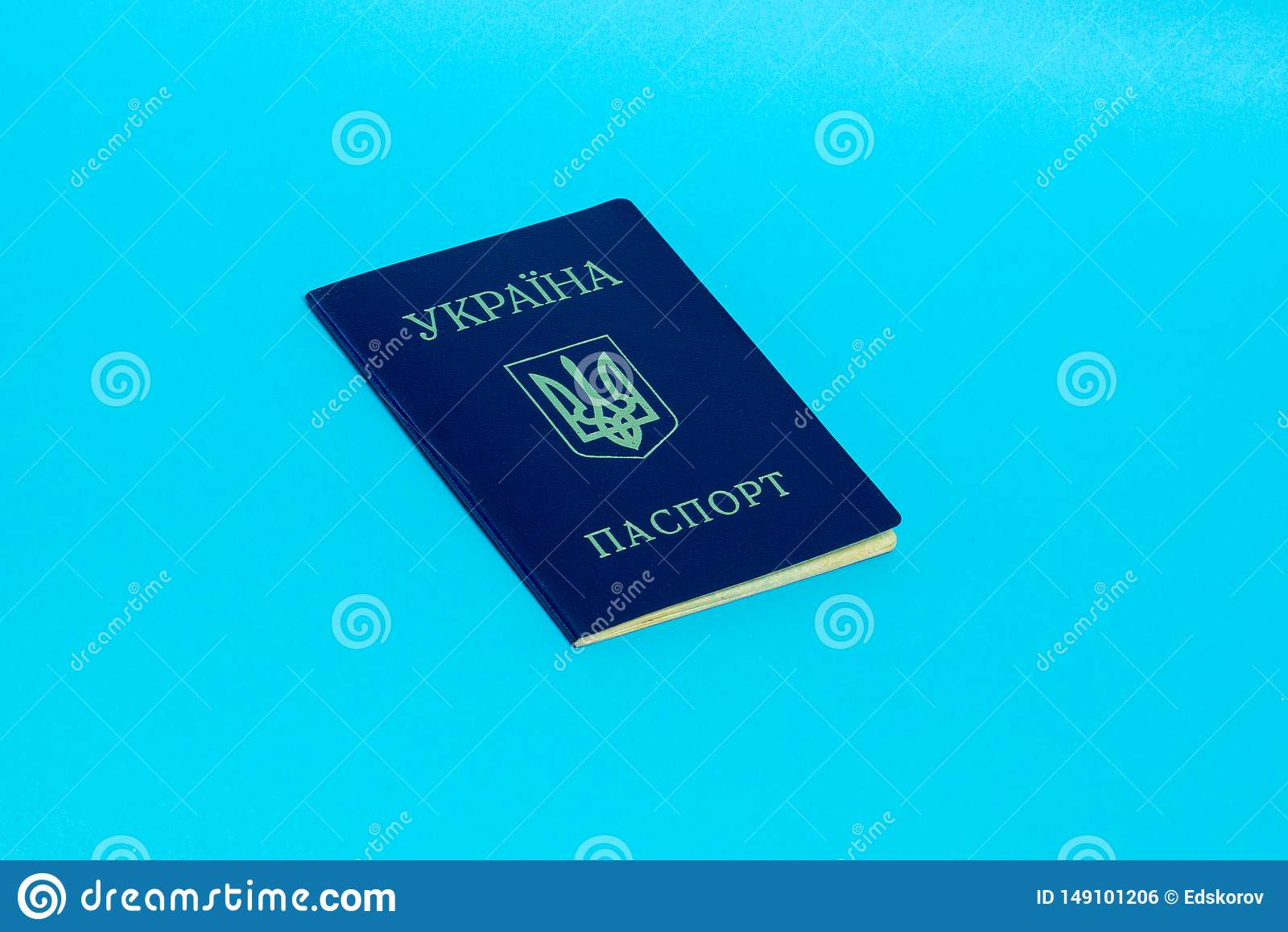 Ukrainskt pass på en blå bakgrund Top besk?dar