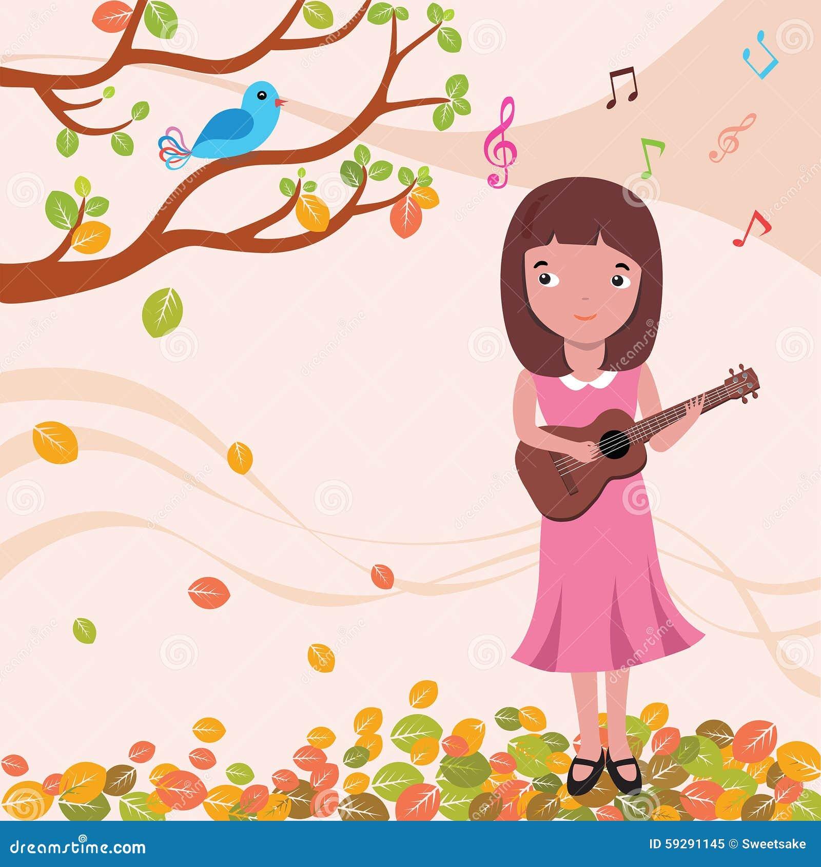 Ukulele dziewczyny śpiew w jesieni ilustraci