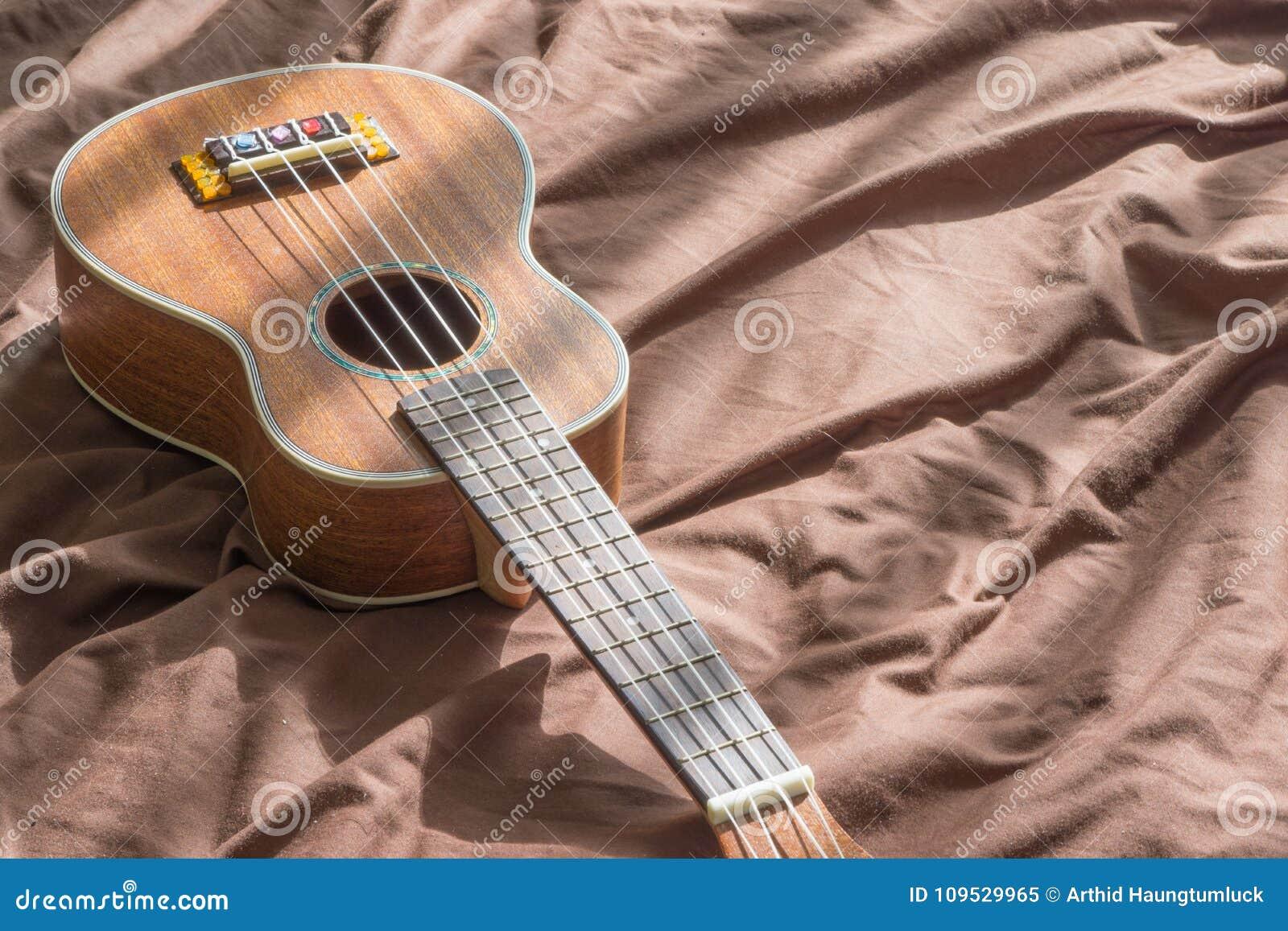 Ukulele Guitar On Bed Background Stock Image Image Of Brown