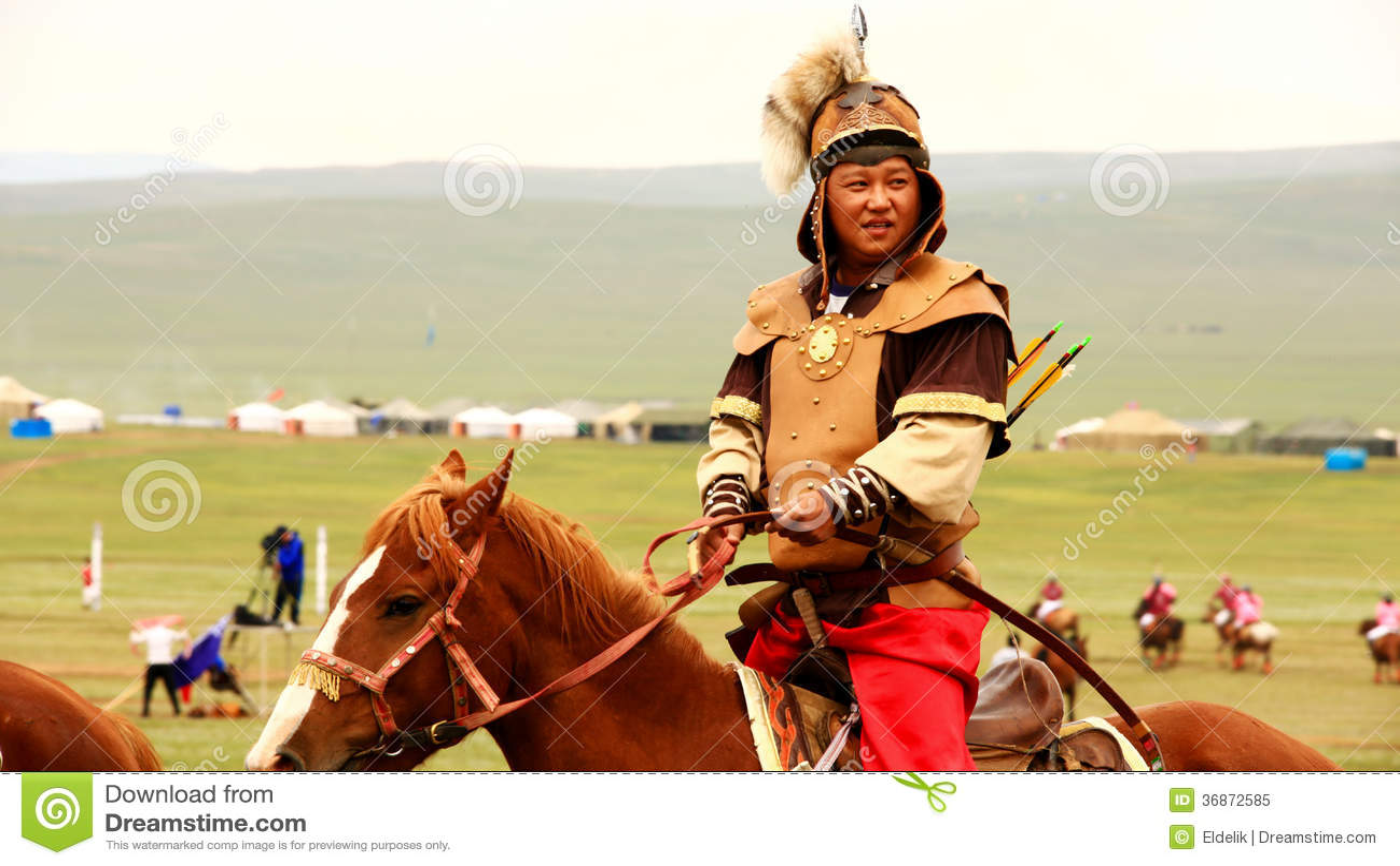 ULAANBAATAR, MONGOLIA - JULY 2013: Naadam Festival Horse Archery Crew