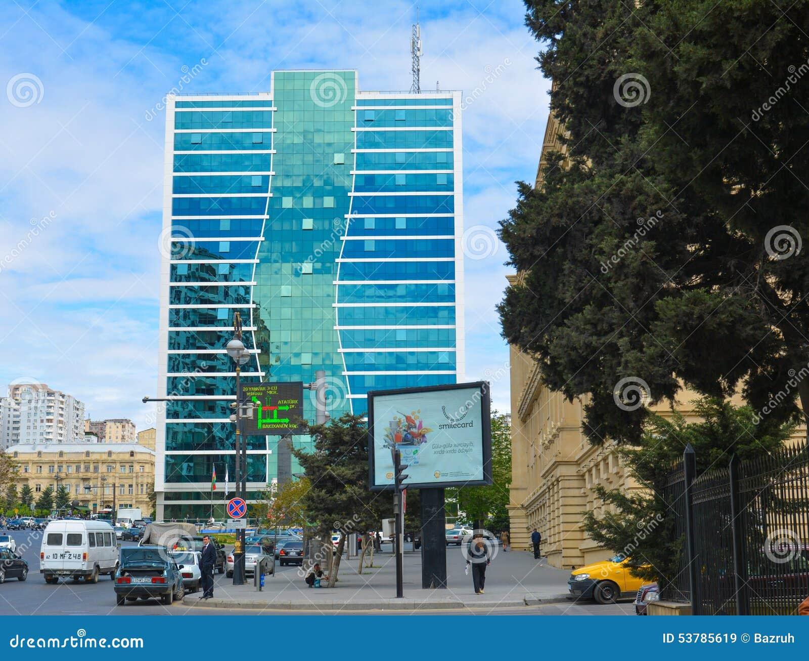 Ulicy Baku miasto, samochody na ulicie