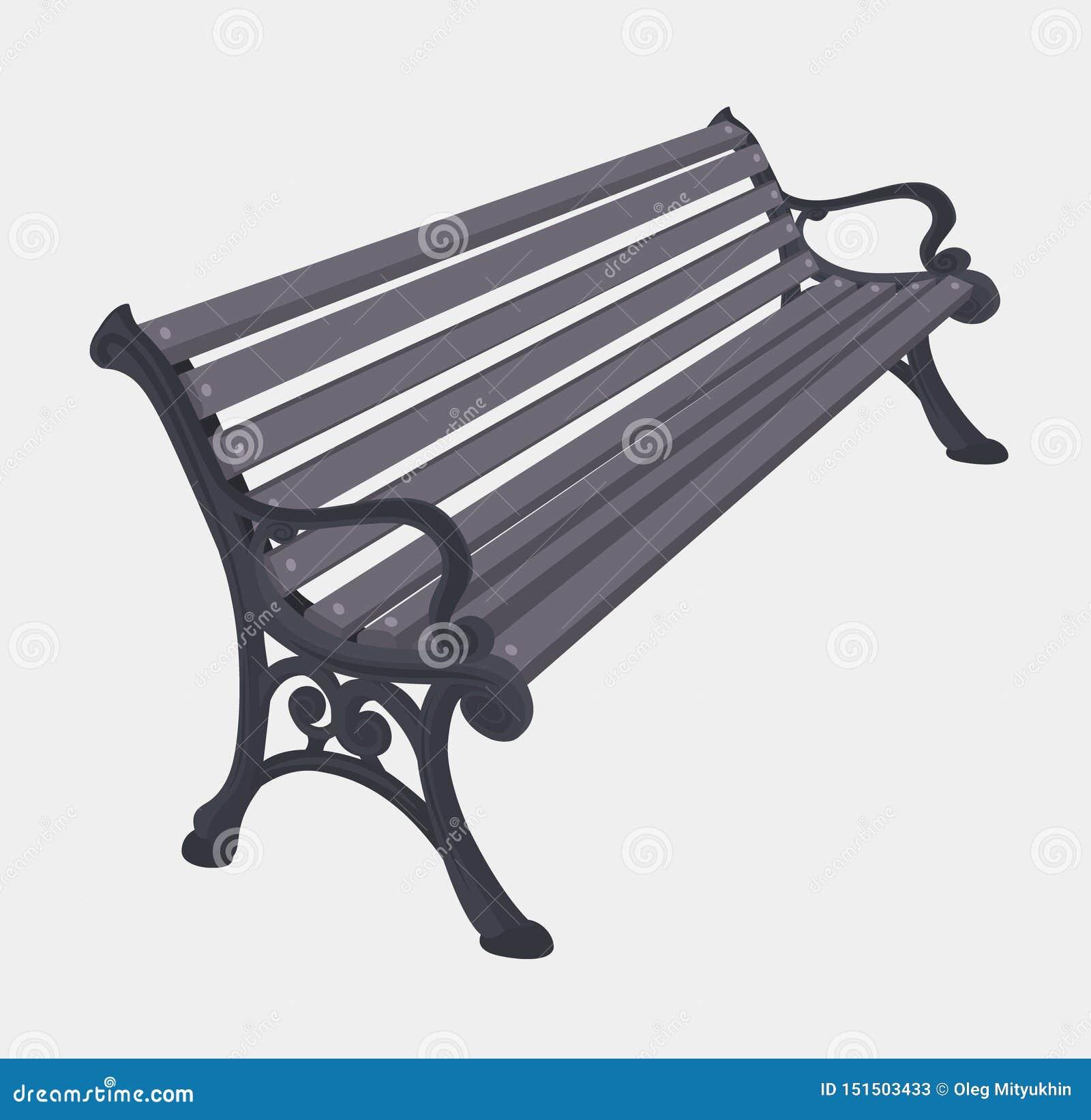 Ulicy lub parka wektorowego rękodzieła Szara drewniana ławka
