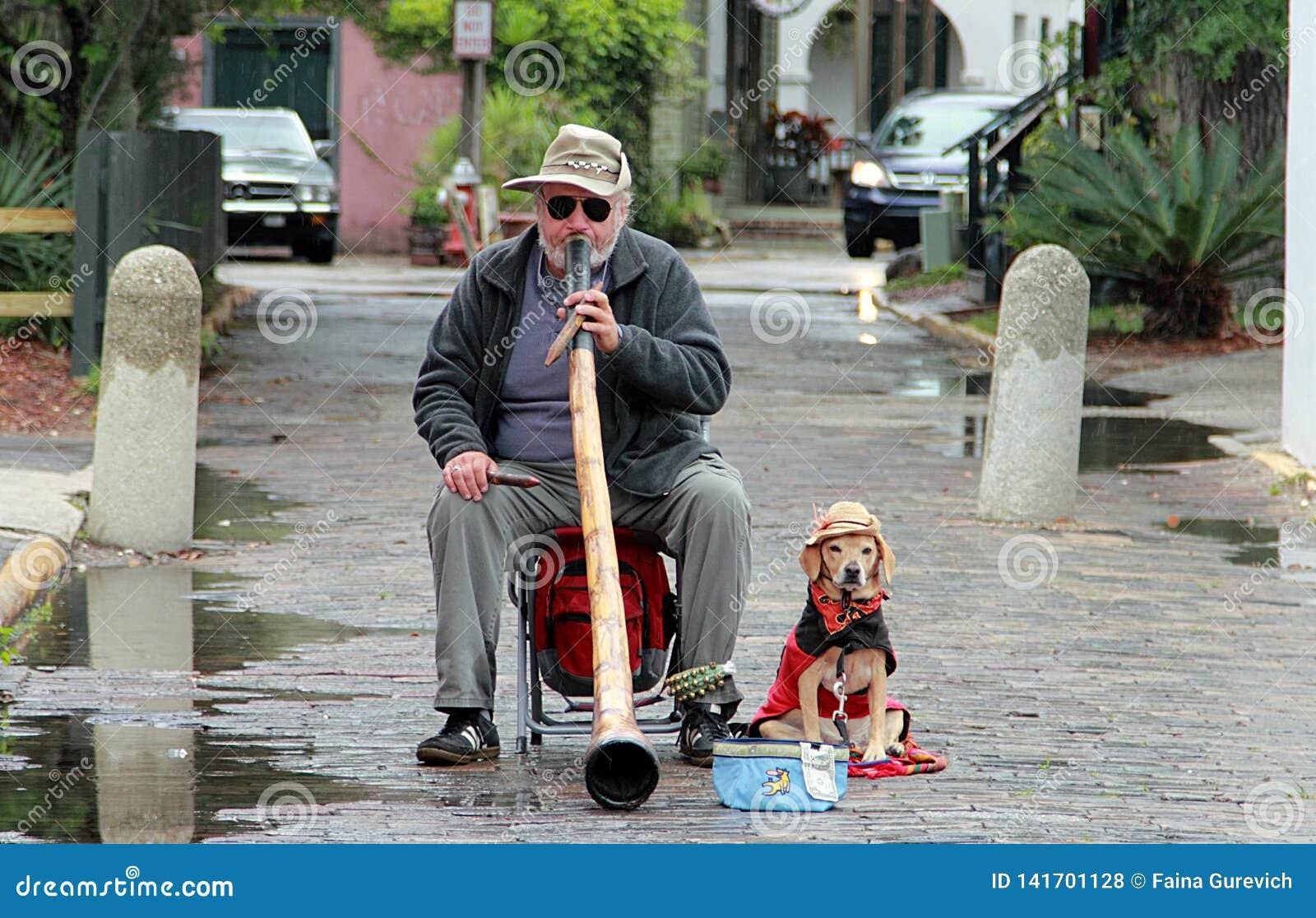 Uliczny muzyk z psem w Świątobliwym Augustine w deszczowym dniu