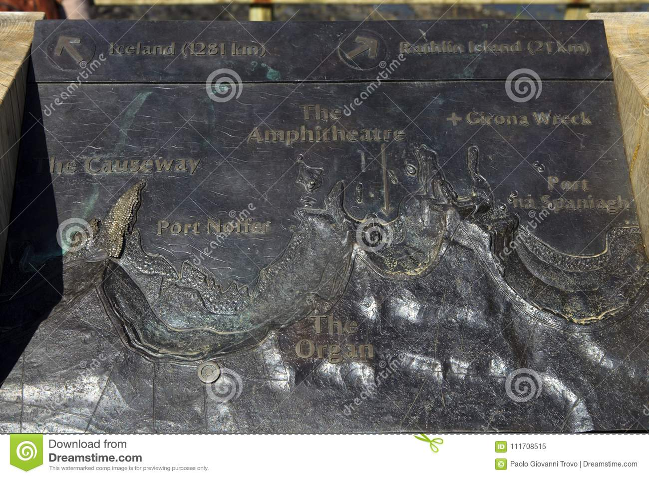Giant\\\\\\\'s Causeway Map The Giant`s Causeway map editorial image. Image of carved   111708515