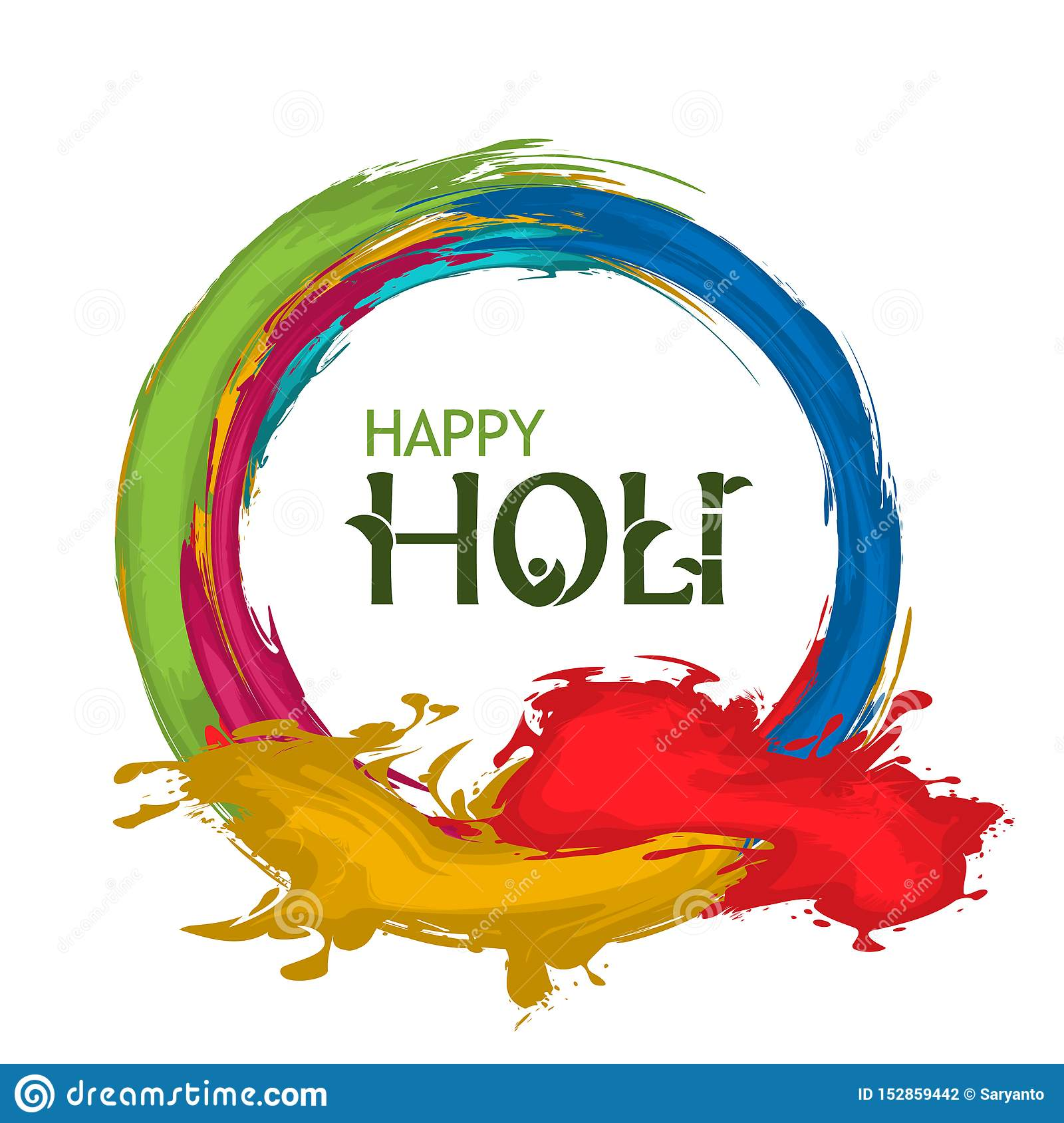 Happy Holi With Colorful Background Flat Design Vector For