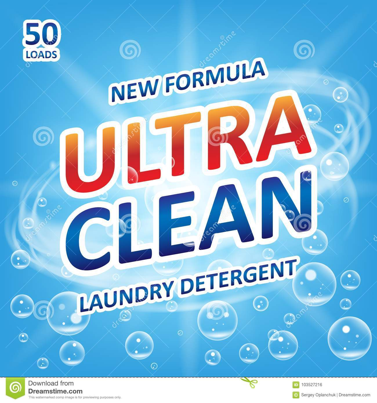 Ultra clean Soap design product. Template for laundry detergent with bubbles on blue. Package design for Liquid