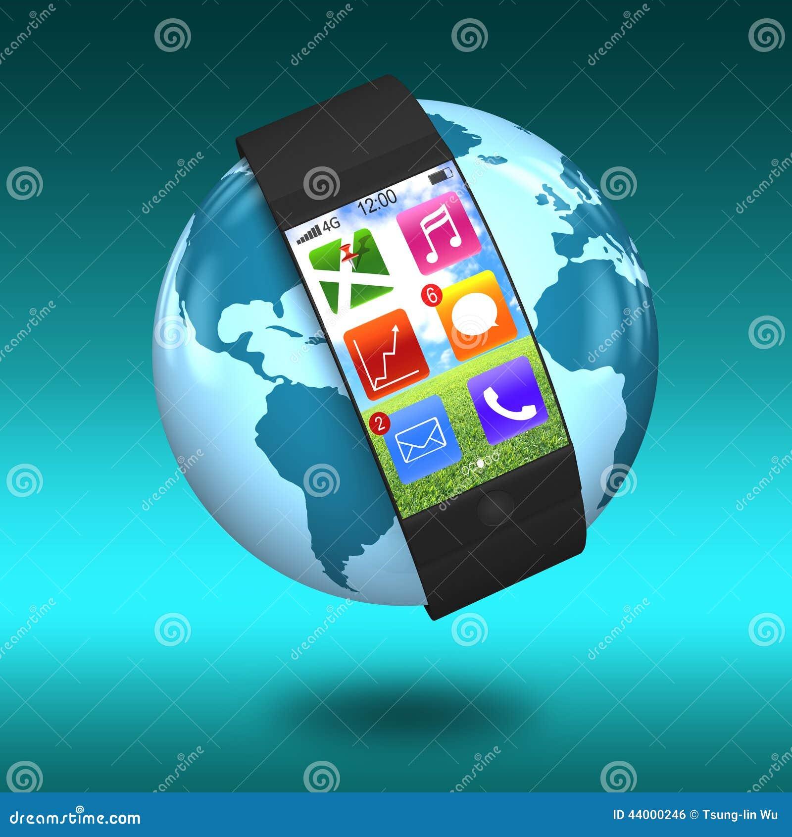 Ultra dünnes verbogenes Schnittstelle smartwatch mit apps auf Erde