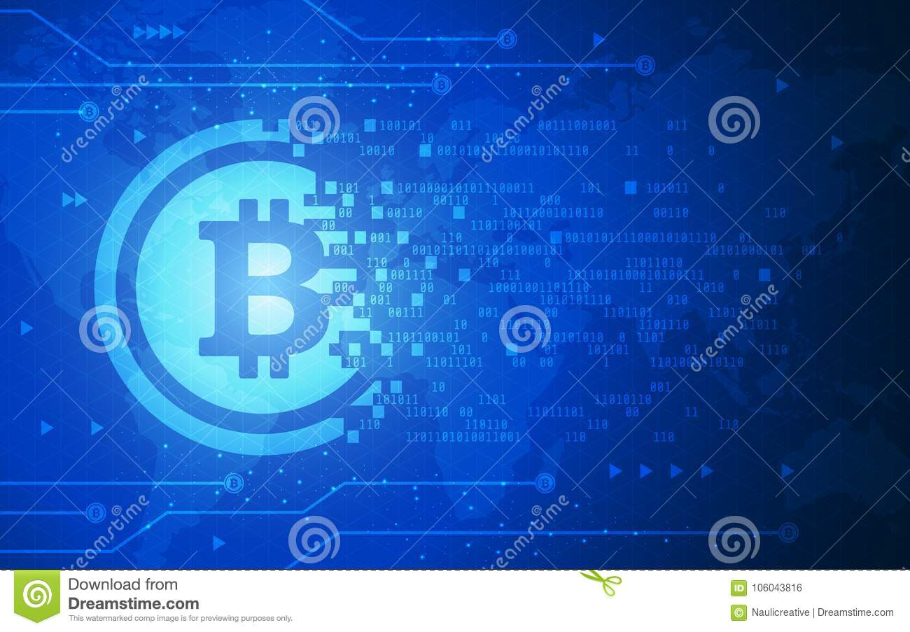 Download Ultra HD Abstract Bitcoin Crypto Currency Blockchain Technology World Map Background Illustration Stock Vector