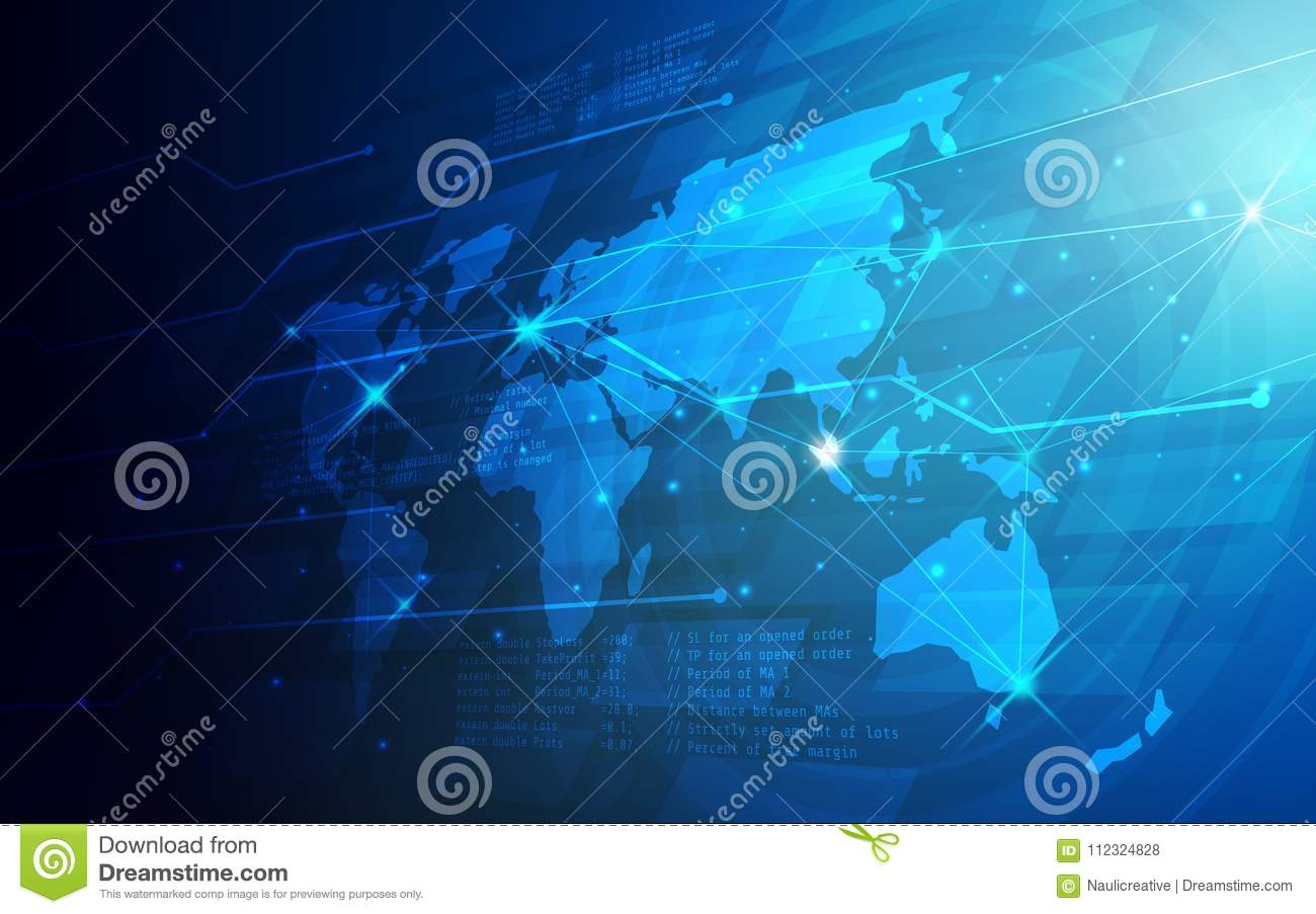 Ultra HD Abstract Technology World Map Wallpaper Stock Vector ... on
