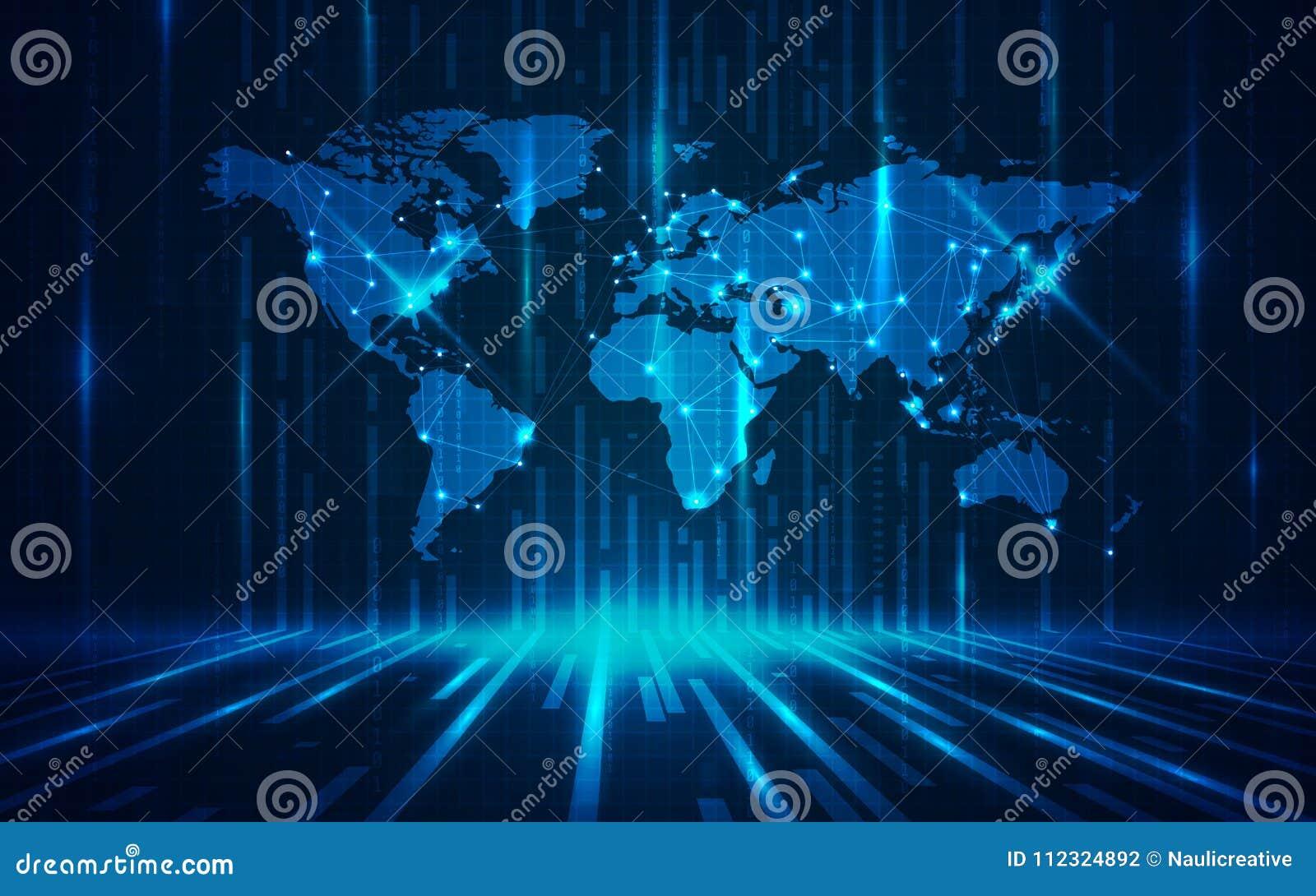 Ultra Hd Abstract Technology World Map Wallpaper Stock