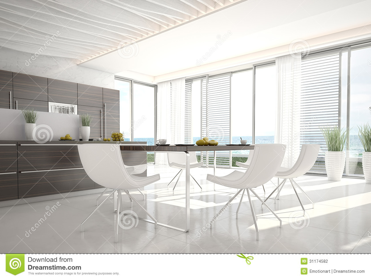 Ultra modern design kitchen interior architecture stock for Modern architectural interior designs