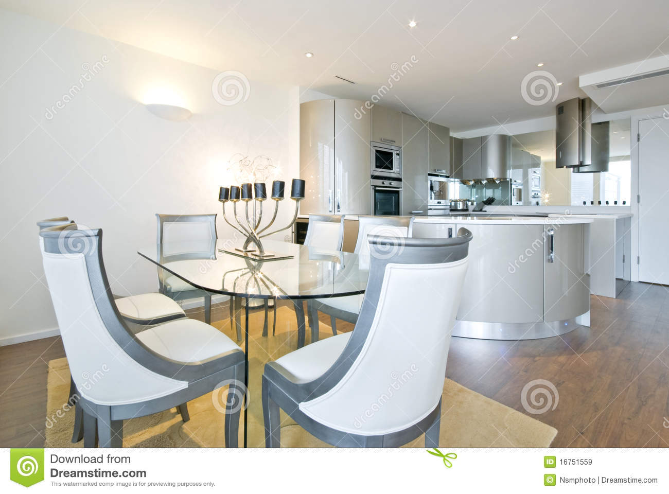 Dining Room And Kitchen Ultra Modern Designer Kitchen With Dining Room Royalty Free Stock
