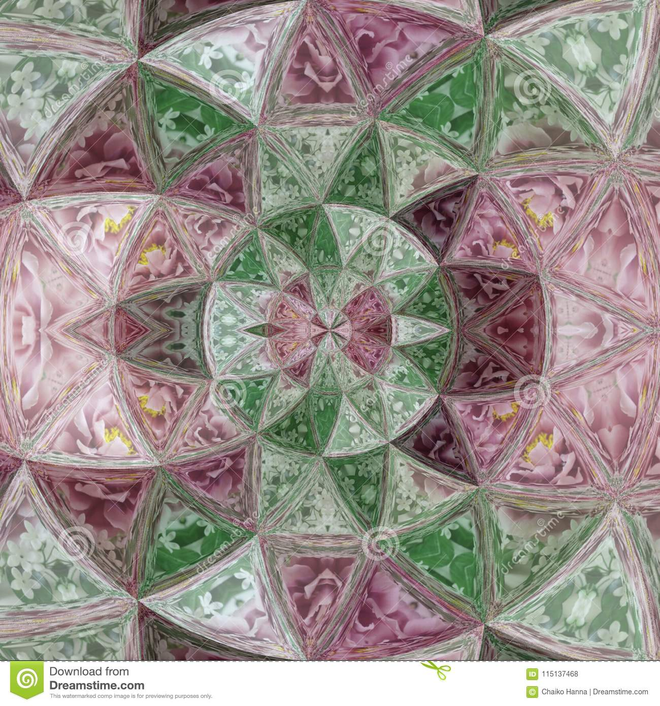 Ultra violet glass quartz effect rose of wind stained glass, colorful mosaic tile pattern in violet, green and white