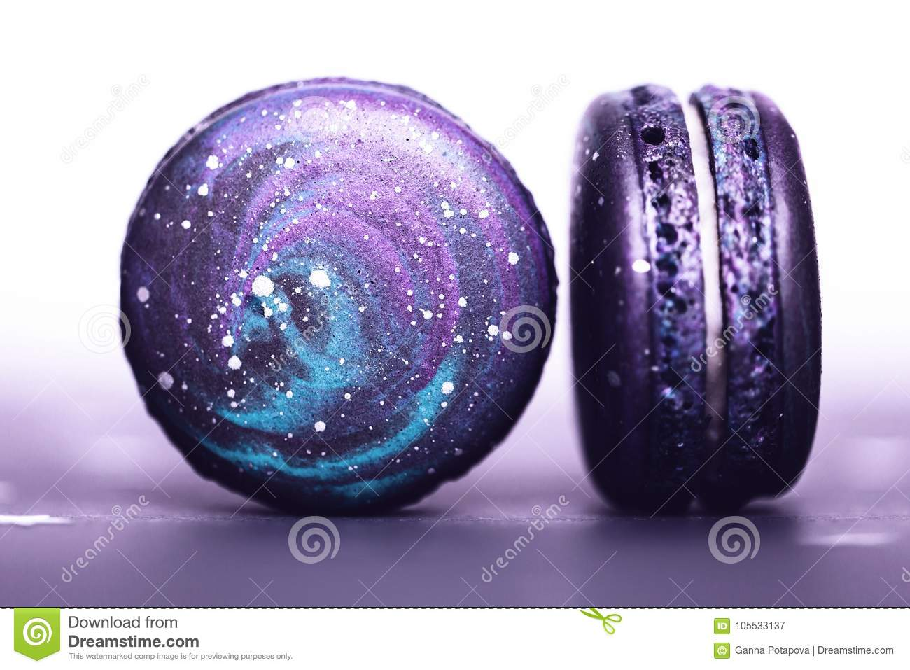 Ultra Violet macarons with space pattern