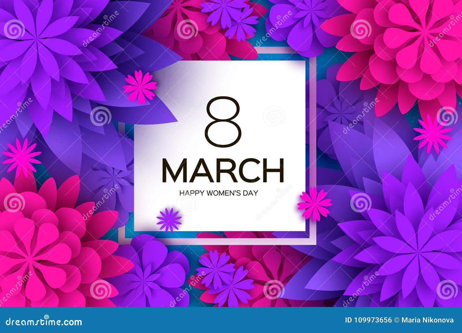 Ultra Violet Pink Paper Cut Flower 8 mars Kvinnors kort för daghälsningar Blom- bukett för origami Fyrkantig ram text