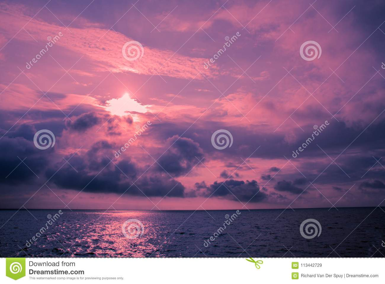 Ultra-violet seascape with clouds
