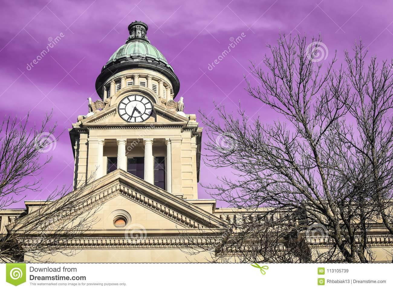 Ultra Violet Sky Decorah, Iowa Courthourse Clock Dome Tower