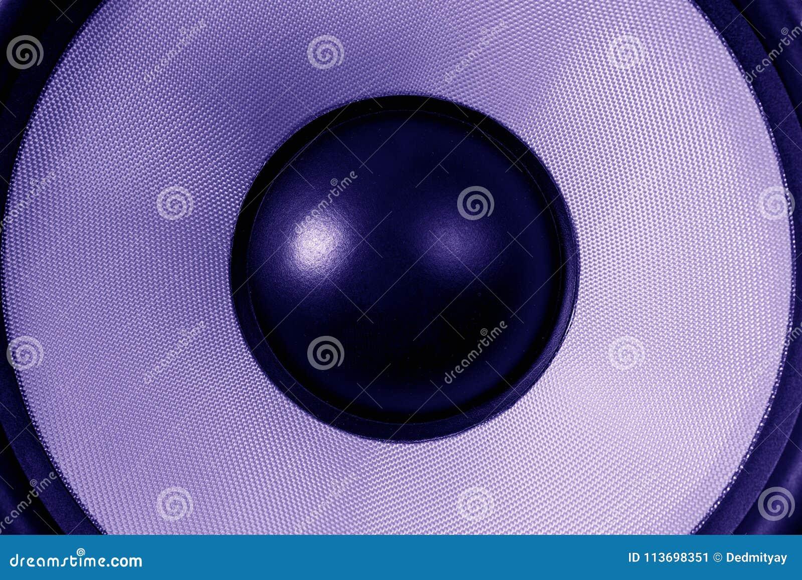 Ultra violet Subwoofer dynamic or sound speaker, party background, dark purple toned