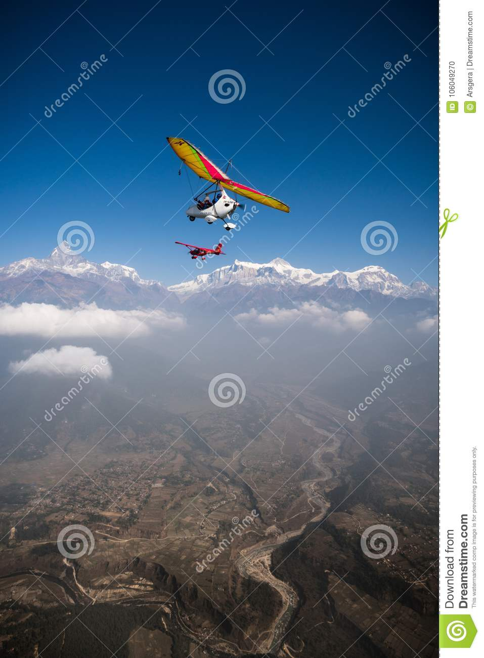 Ultralight Trike And Plane Fly Over Pokhara And Annapurna Region