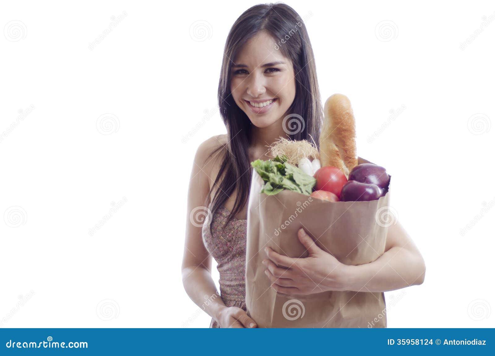 Ultramarinos de compra de la mujer hermosa