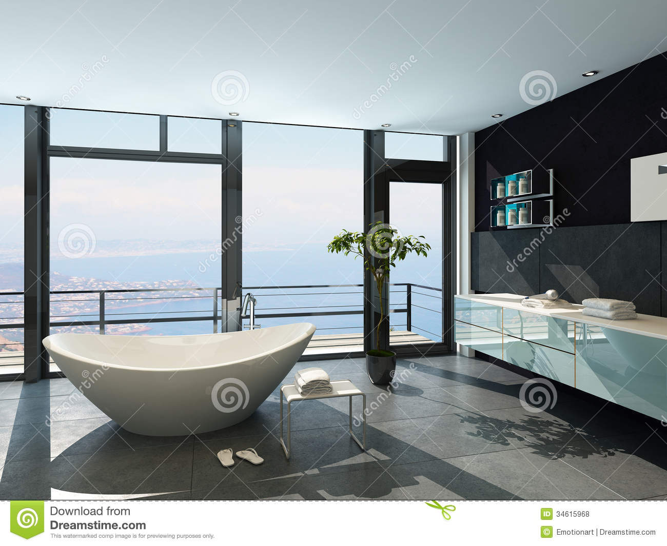 of an ultramodern contemporary design bathroom interior with sea view - Ultra Modern Bathroom Designs