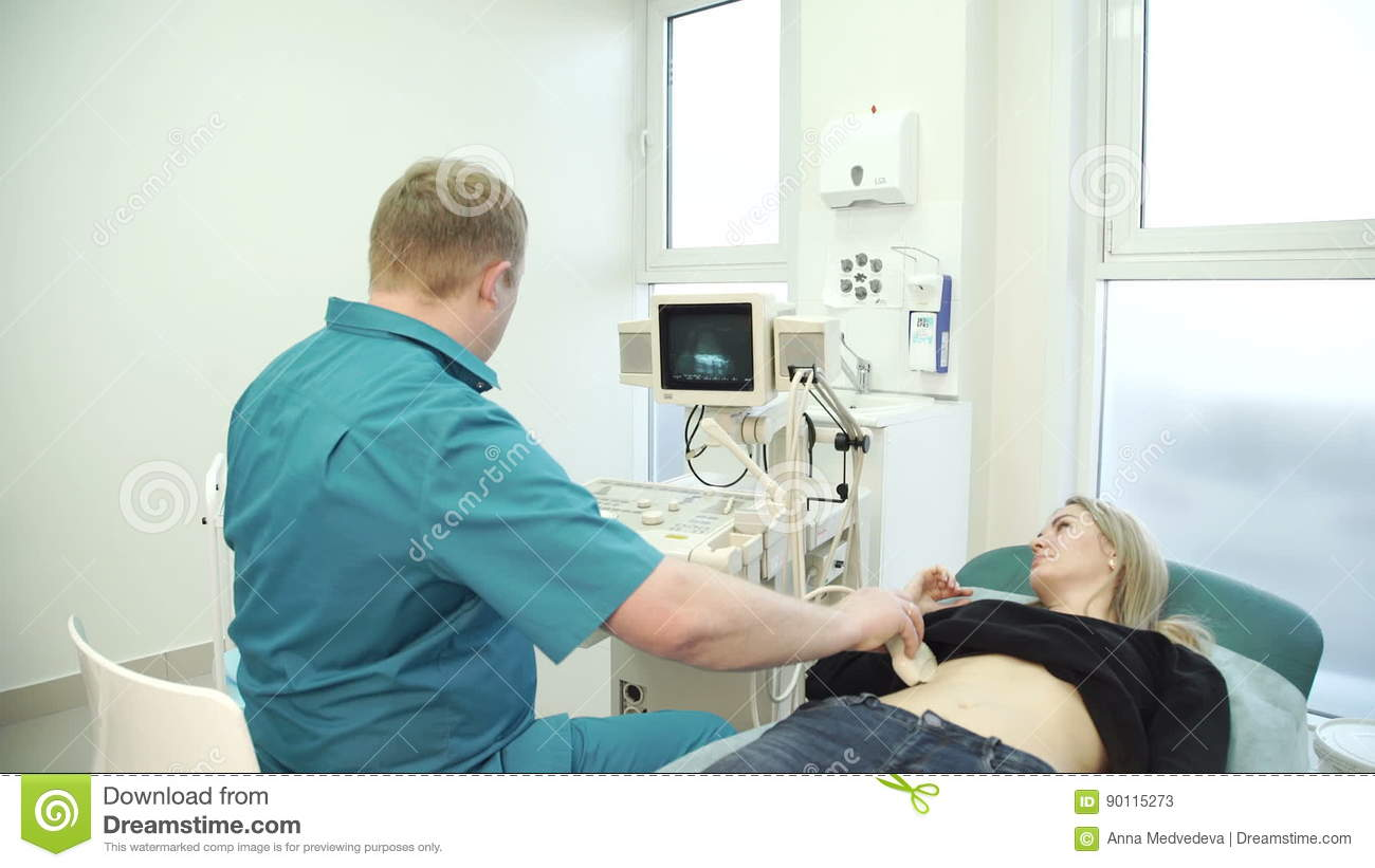 Ultrasound Examination Woman Of Stomach Diagnosis In Clinic Stock ...