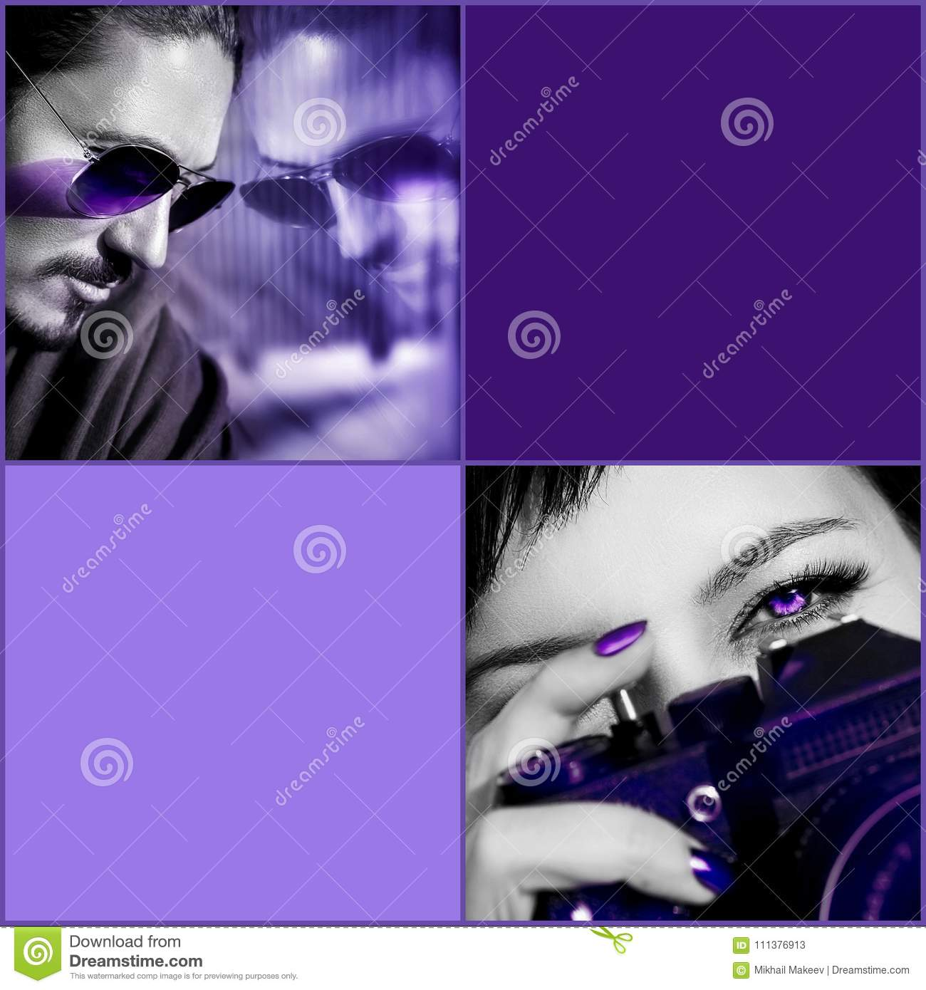 Ultraviolet composite image. Man in sunglasses, woman with camera against purple background. Composite image with black and white.