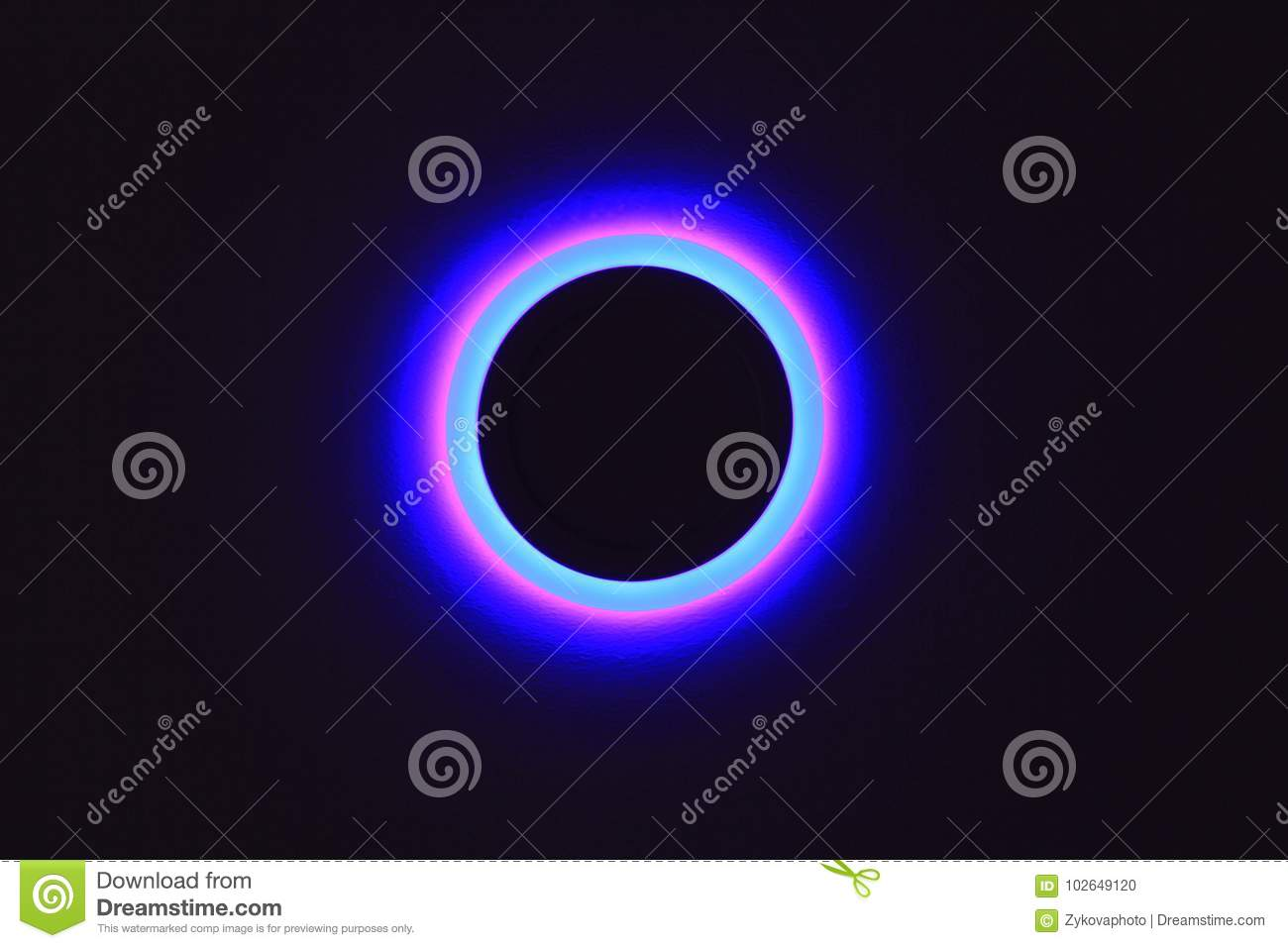 Ultraviolet Lamp On Black Background Isolated