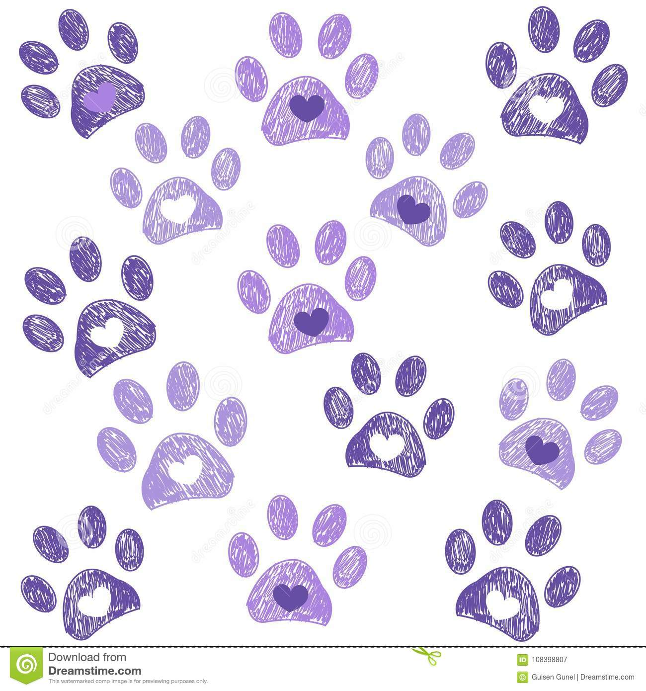 Ultraviolet paw print with hearts background