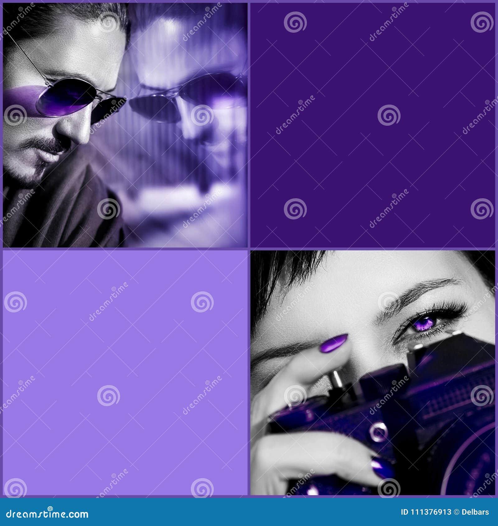 Ultraviolett sammansatt bild Man i solglasögon, kvinna med kameran mot purpurfärgad bakgrund Sammansatt bild med svartvitt