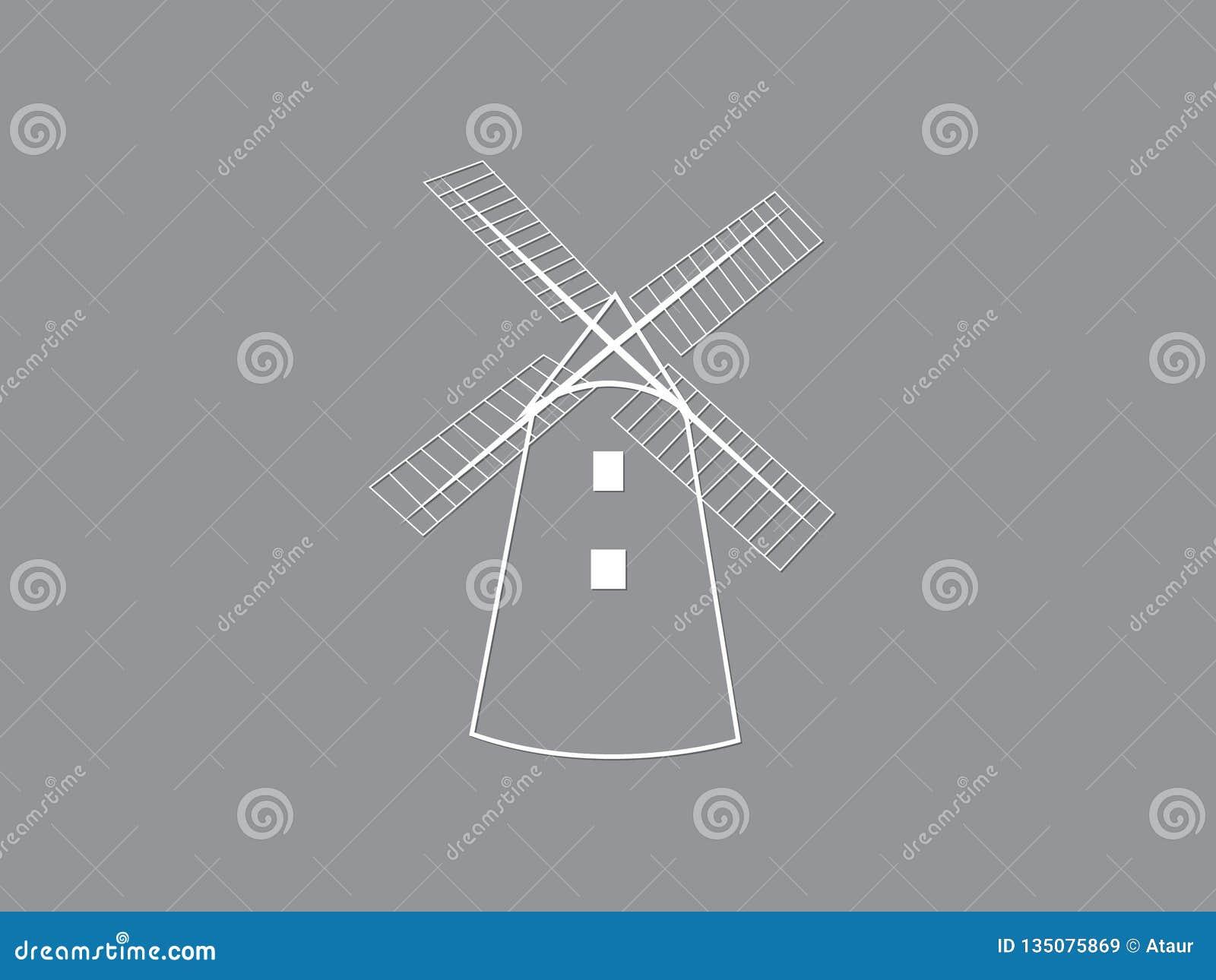 Um ícone ou um logotipo tradicional branco do vetor da casa do moinho de vento no fundo escuro para moer a ilustração da grão