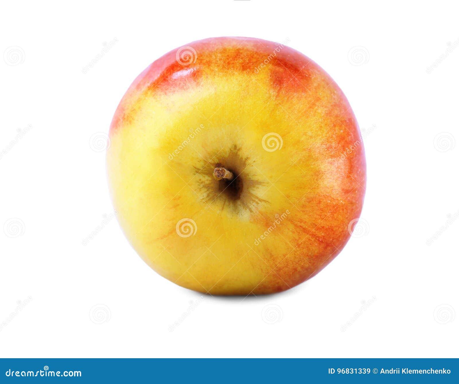 Um único close-up da maçã Uma maçã saboroso e crocante, isolada em um fundo branco A multi-colored healthful apple