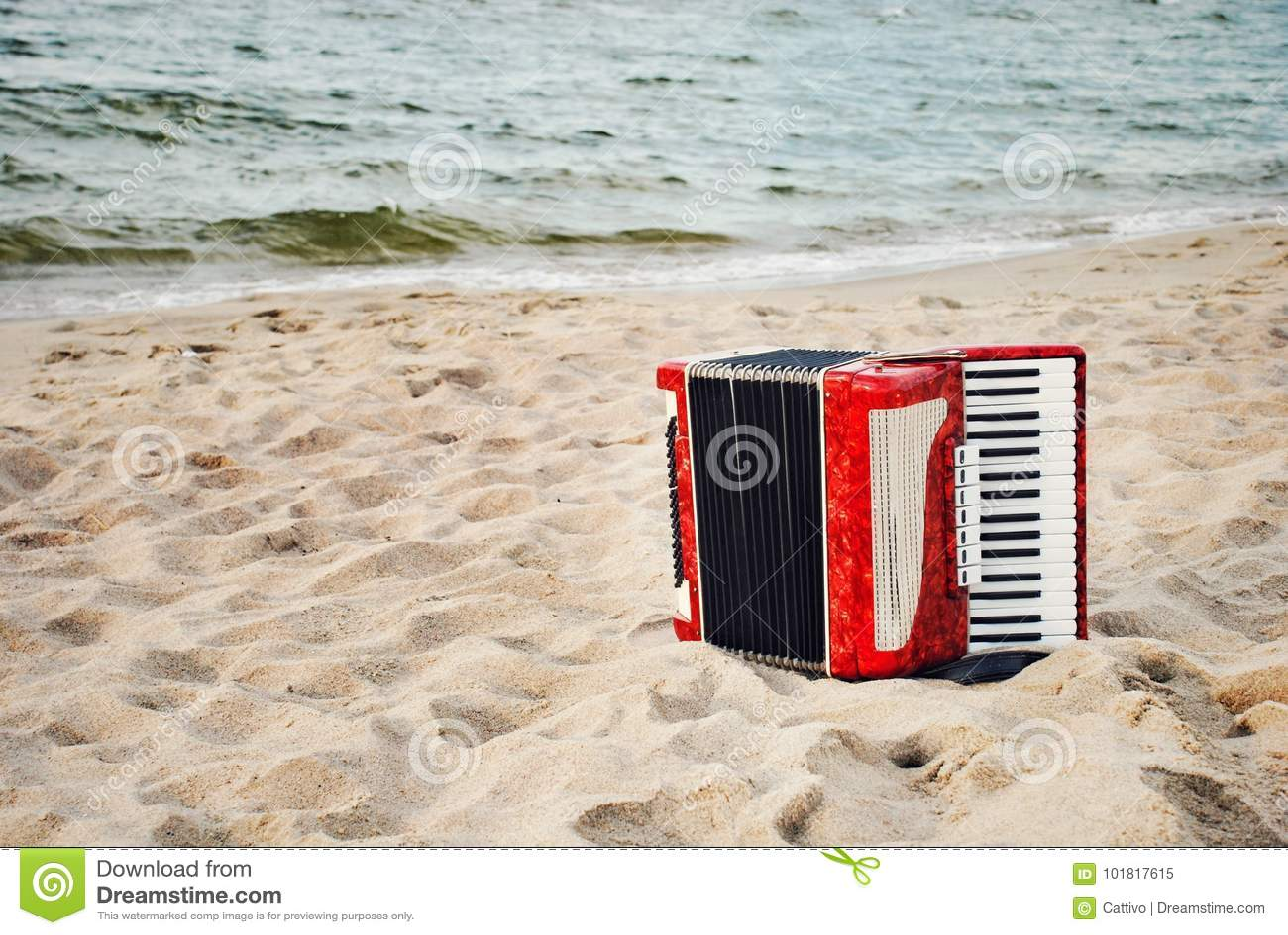 Um acordeão vermelho em uma praia