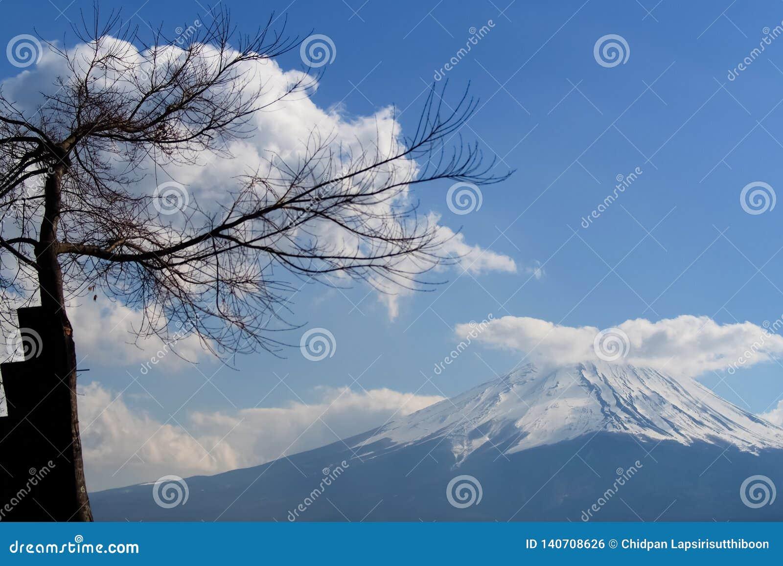 Um bonito da montanha Fuji, Fuji-san no céu azul e nas nuvens como o fundo