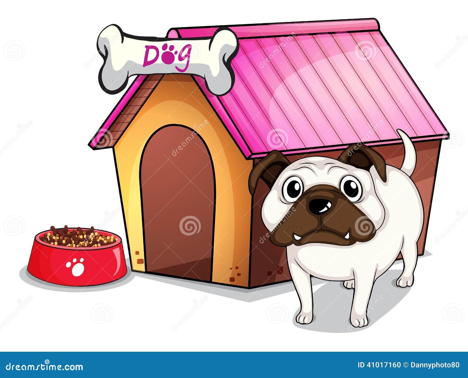 Um cão fora da casa de cachorro