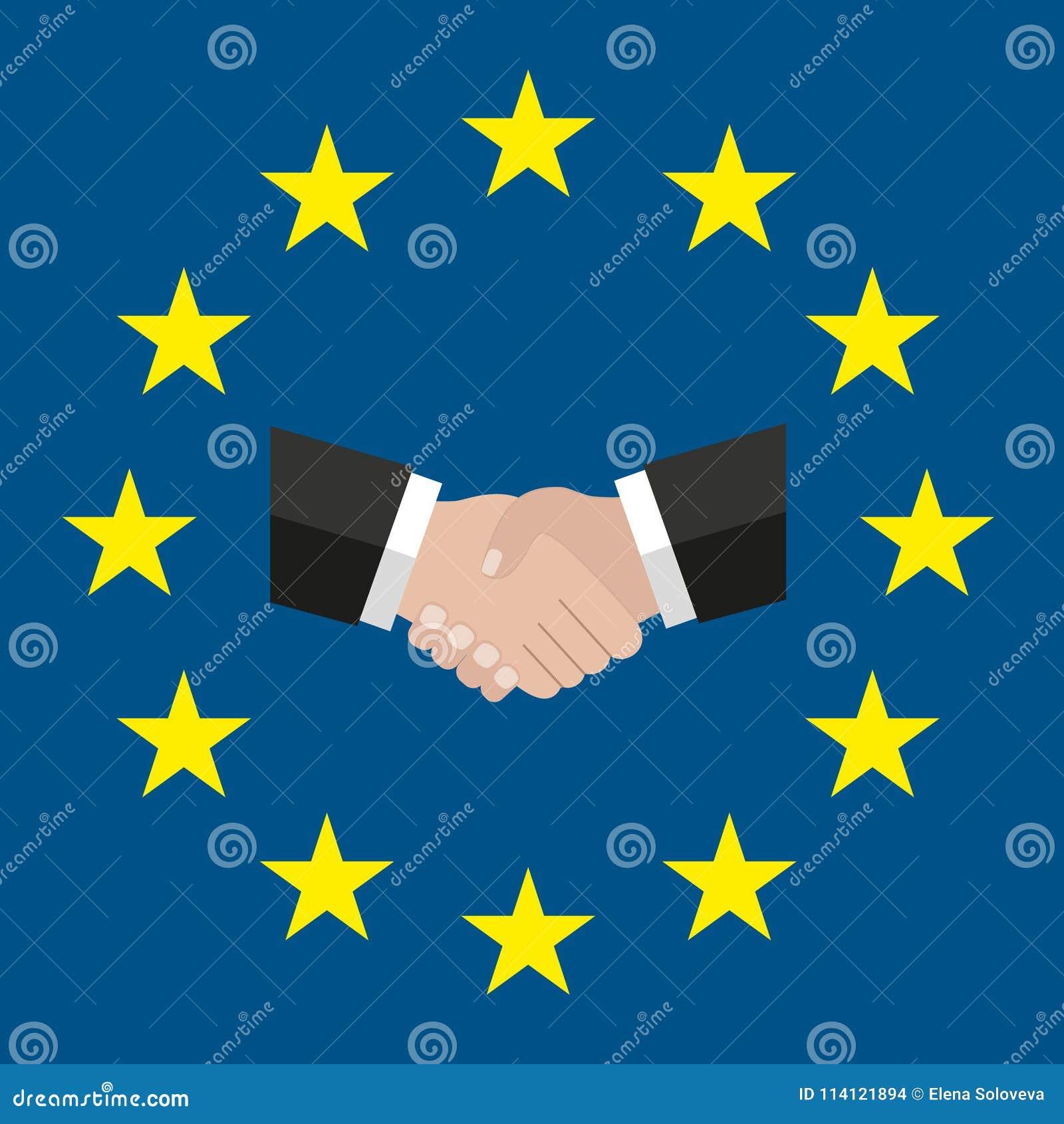 Um círculo das estrelas Estilo liso UE original e simples da bandeira de Europa Aperto de mão solução Bandeira da União Europeia