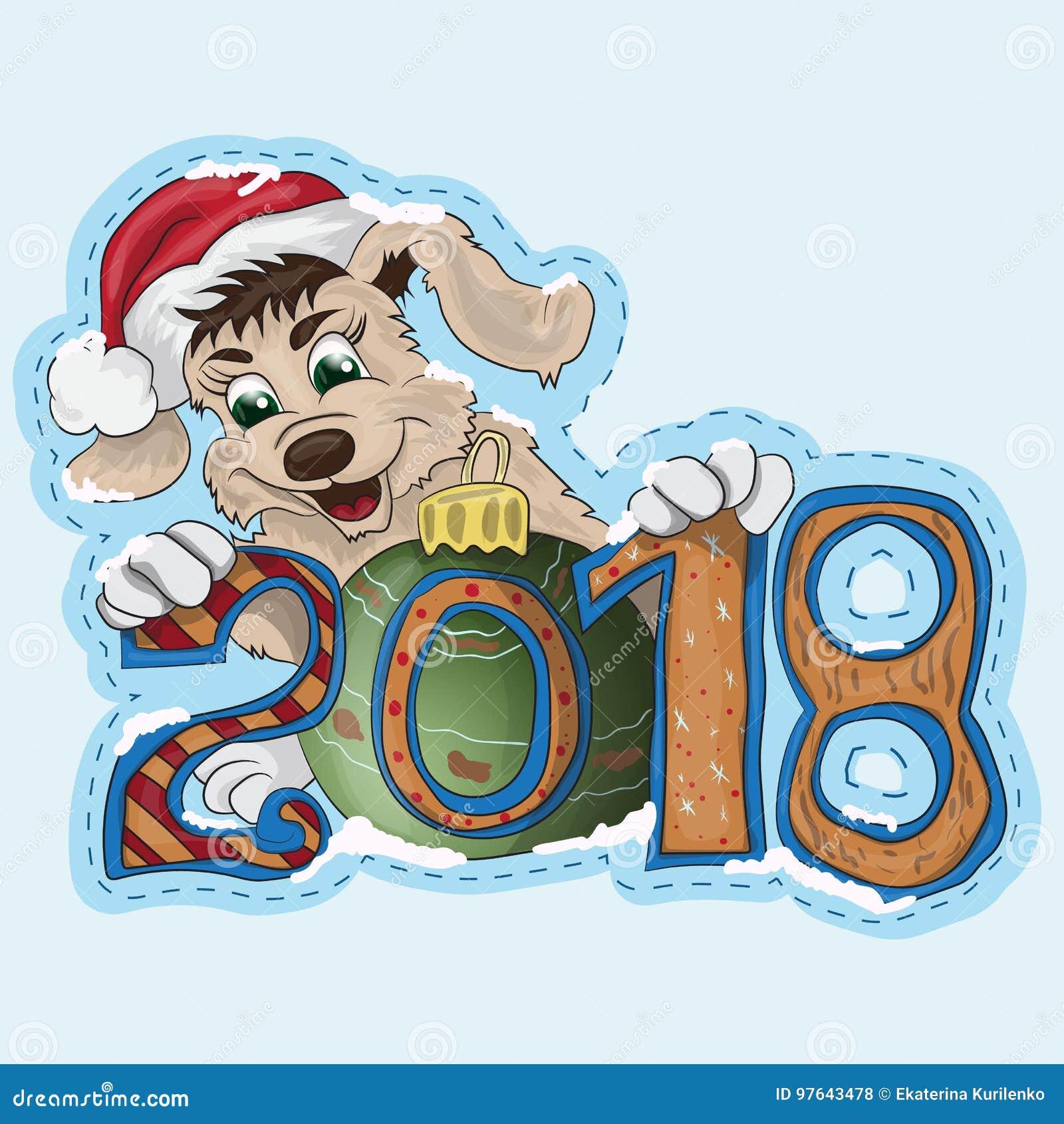 Um cachorrinho pequeno está guardando uma data 2018 do ano novo