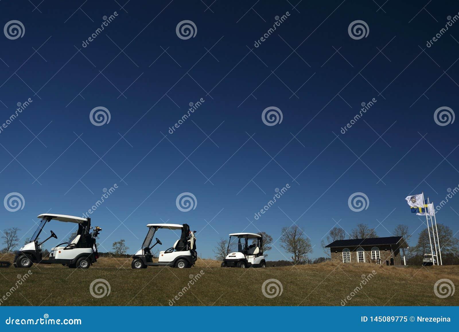 Um campo de golfe com golfcarts