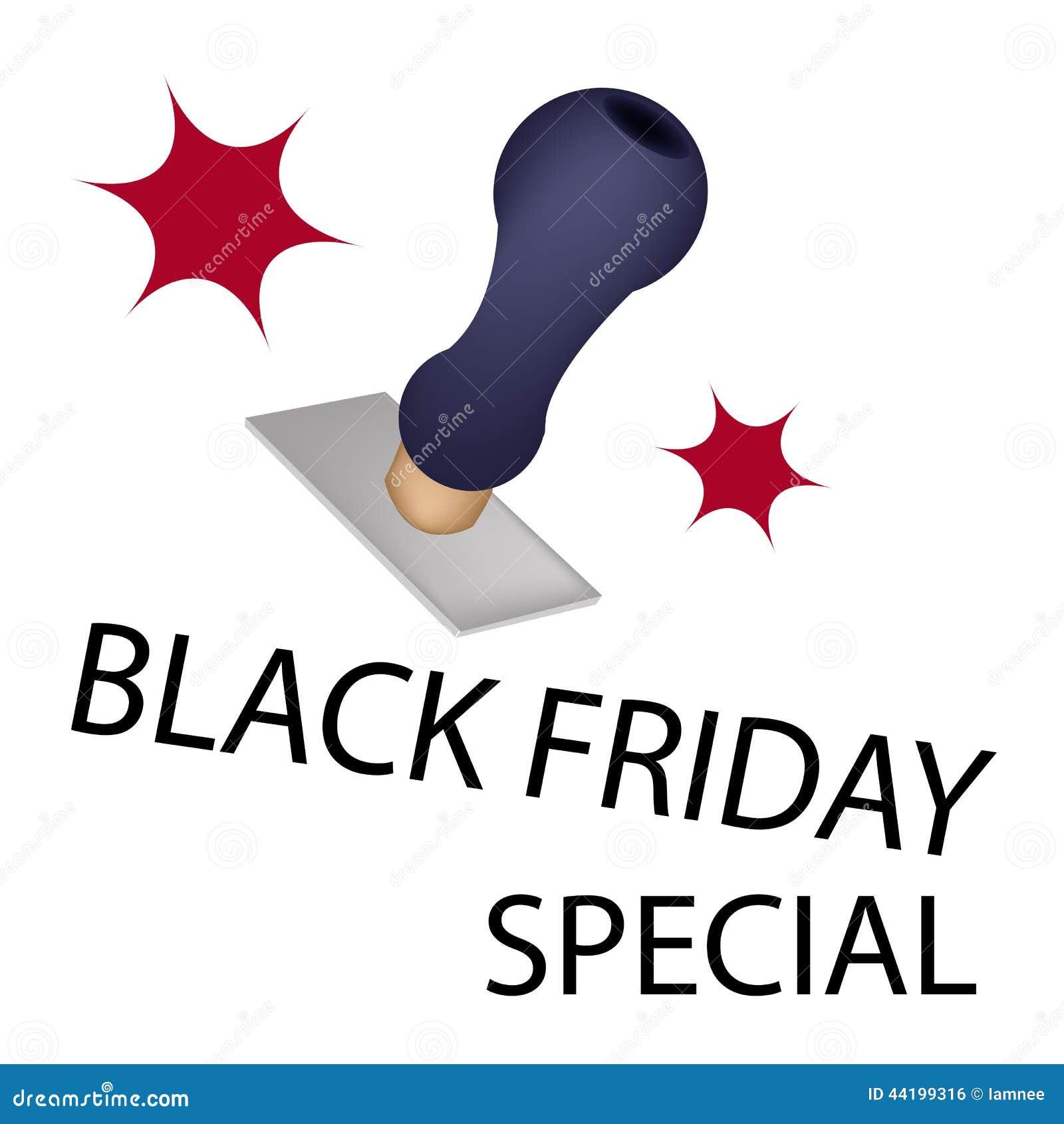 Um carimbo de borracha com o Special de Black Friday da palavra