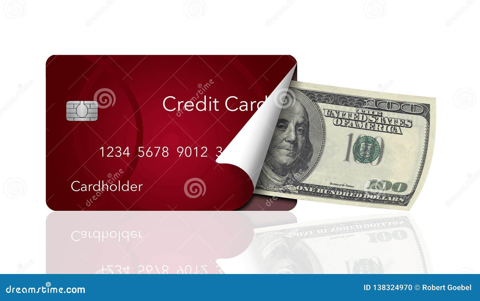 Um cartão de crédito é descascado para trás para revelar para dentro cem notas de dólar Isto ilustra levar um cartão em vez do di