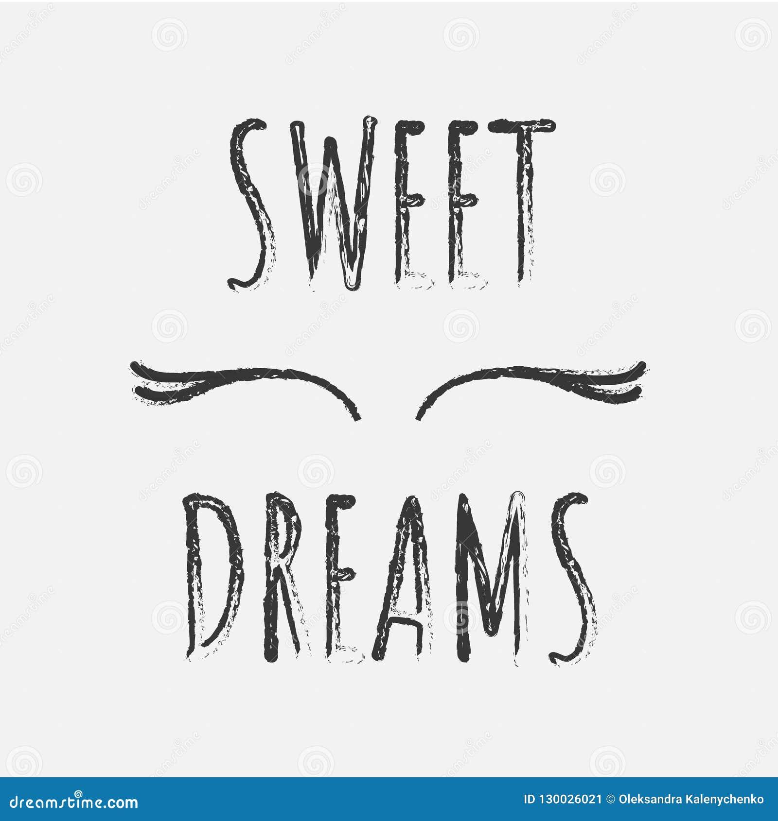 Um cartaz com olhos fechados e pestanas com os desejos de sonhos doces