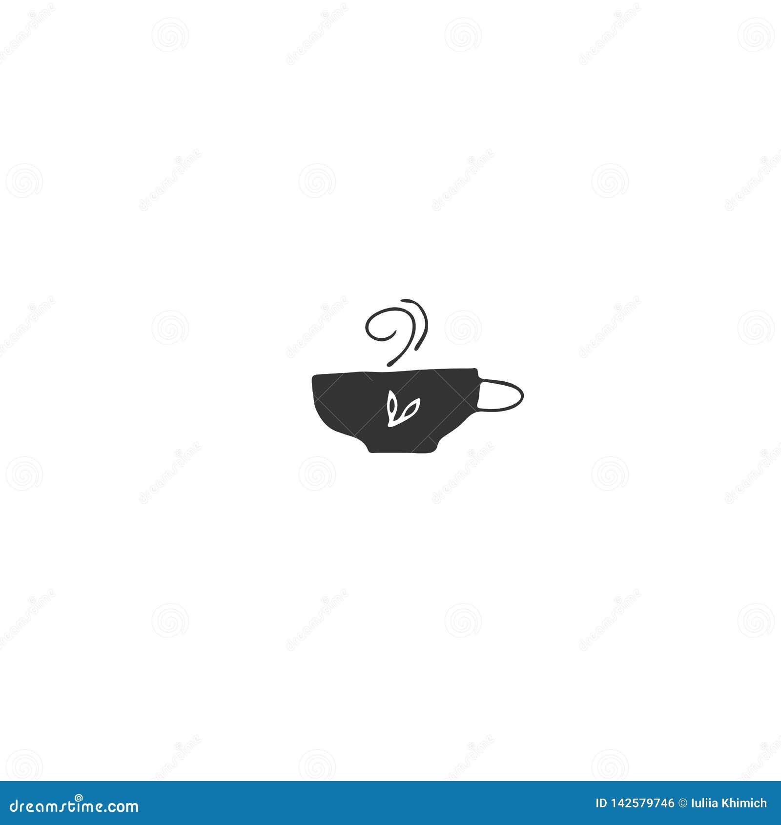 Um copo do chá erval E Objeto tirado mão do vetor