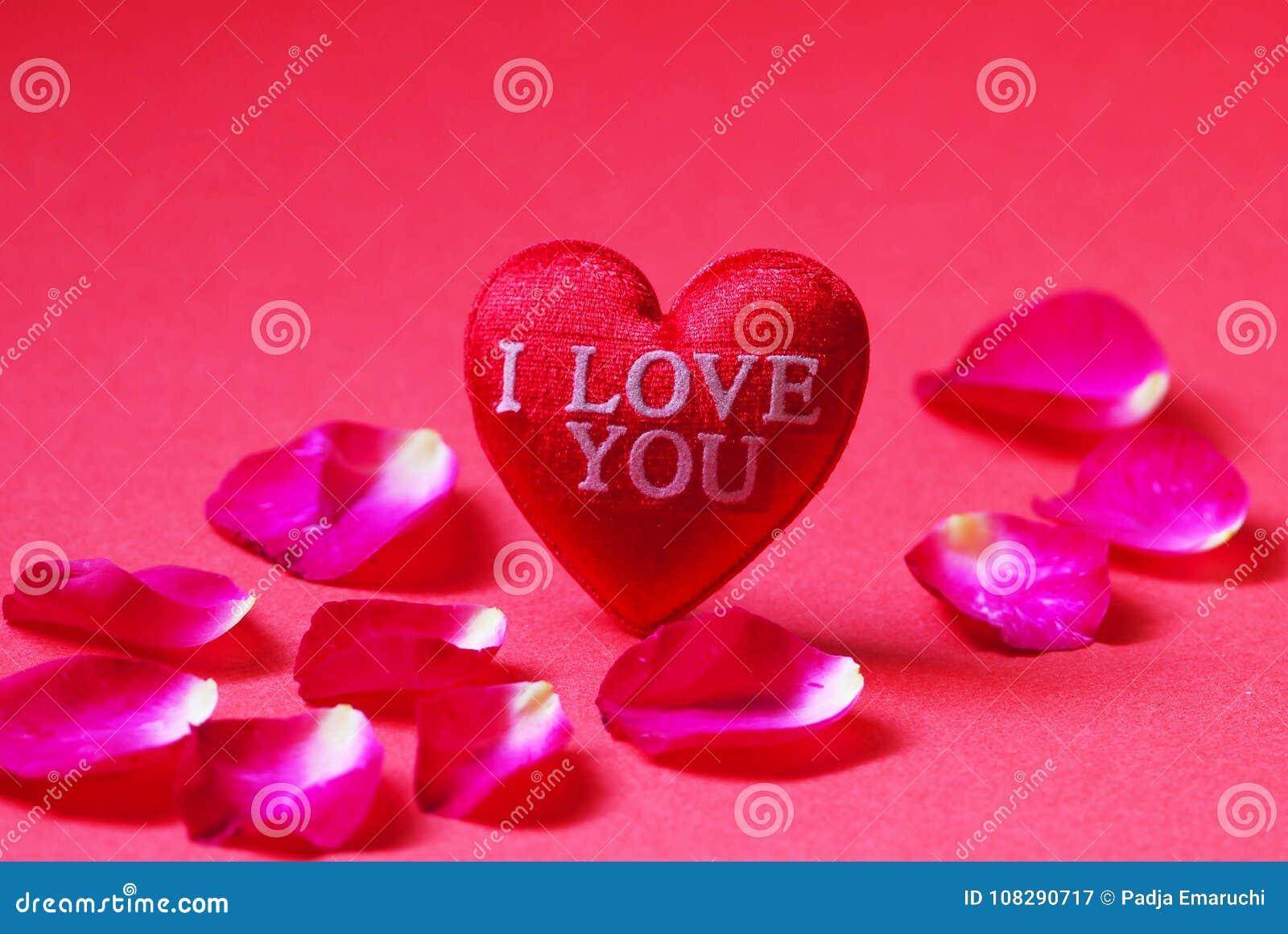 Um coração vermelho deu forma com as pétalas eu te amo e de Rosa no fundo vermelho