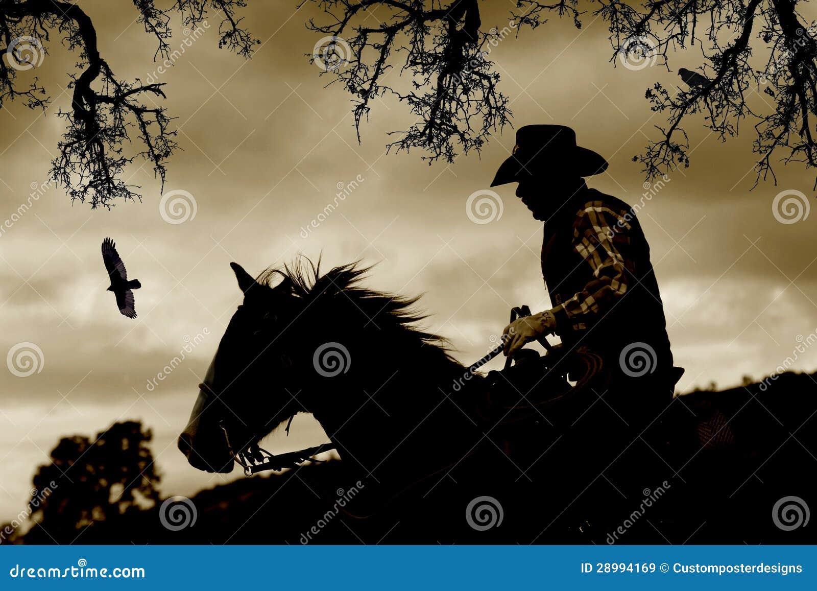 Um cowboy, um cavalo e uns pássaros no sepia.