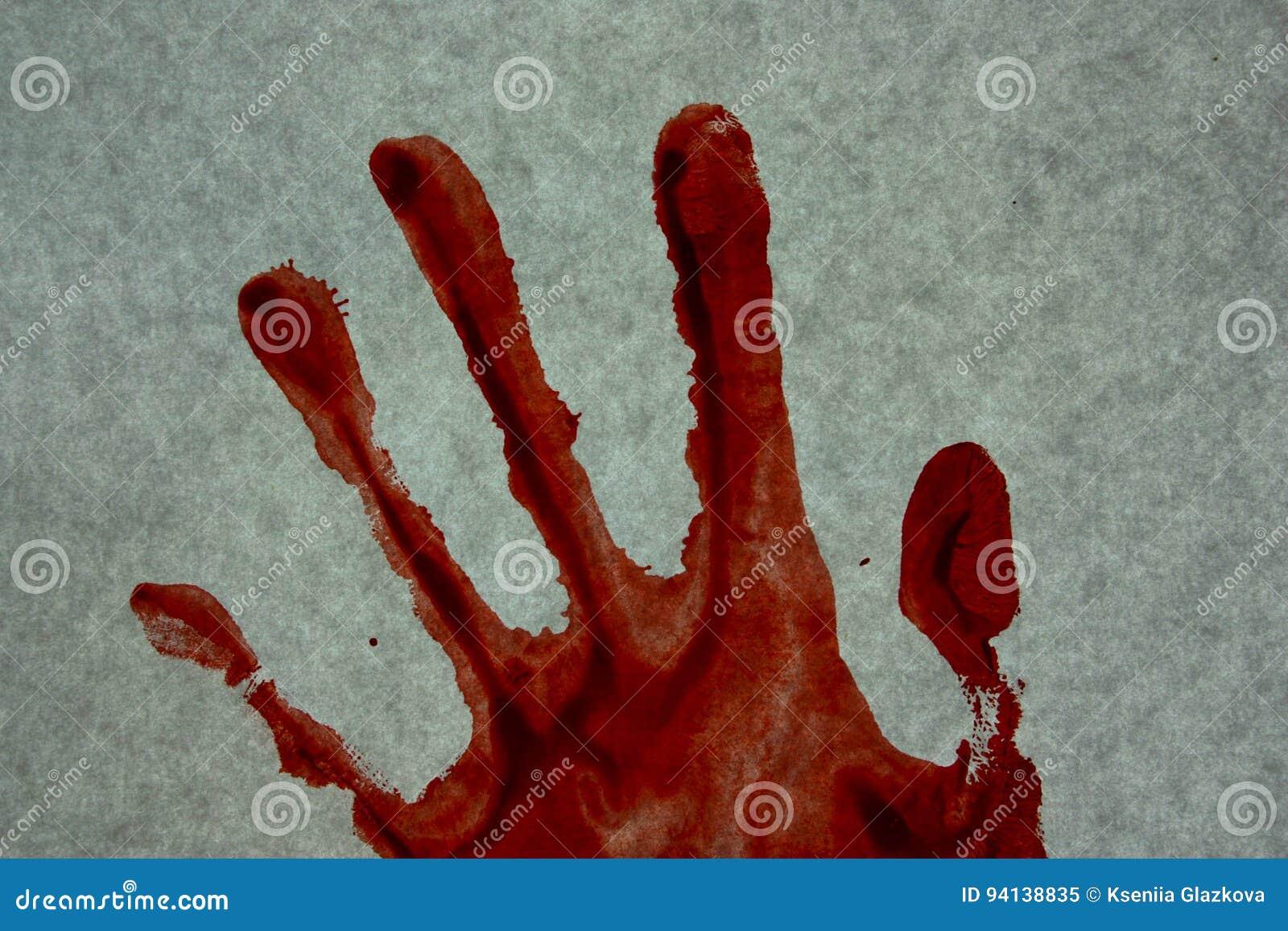 Um crime assassinato Sangue do vermelho da impressão da mão