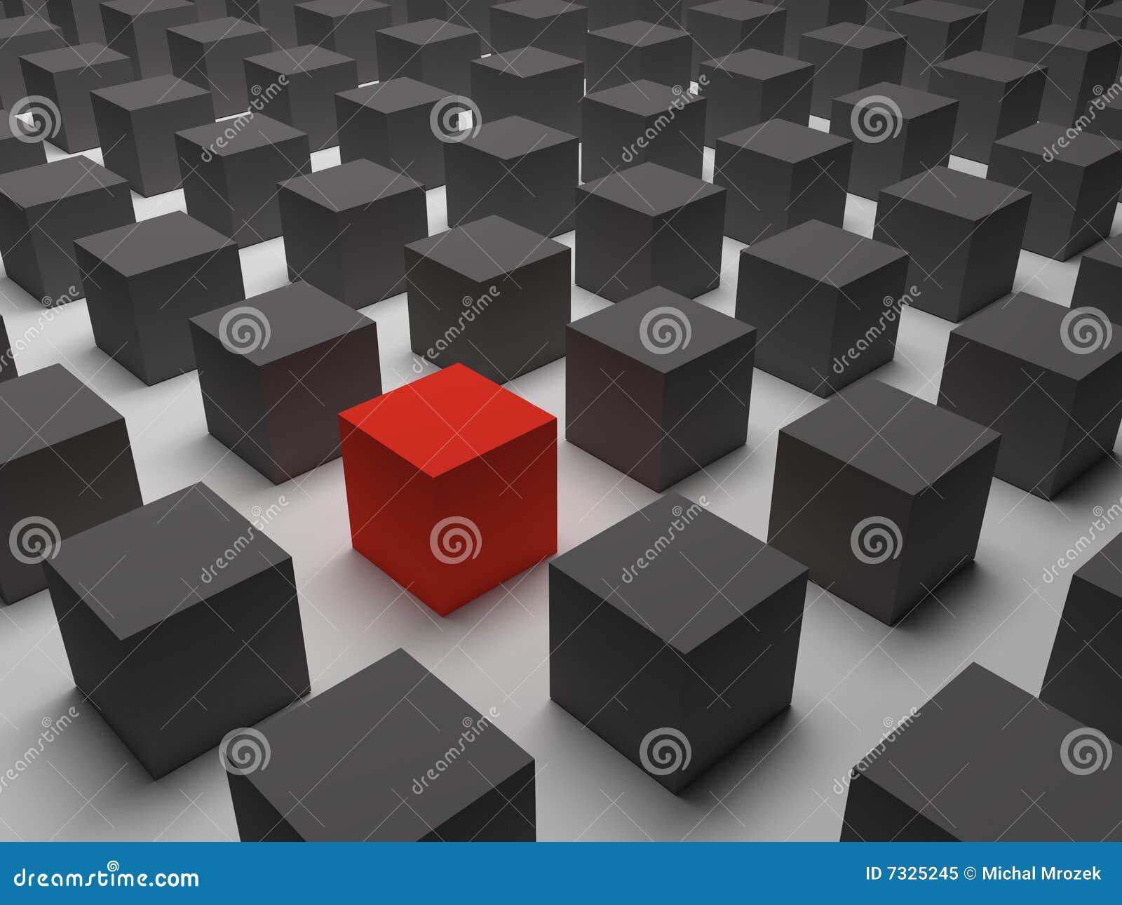 Um cubo vermelho diferente